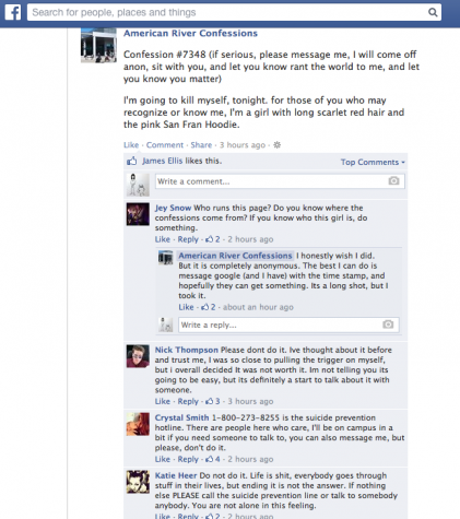 Post on American River Confessions Facebook page threatens suicide