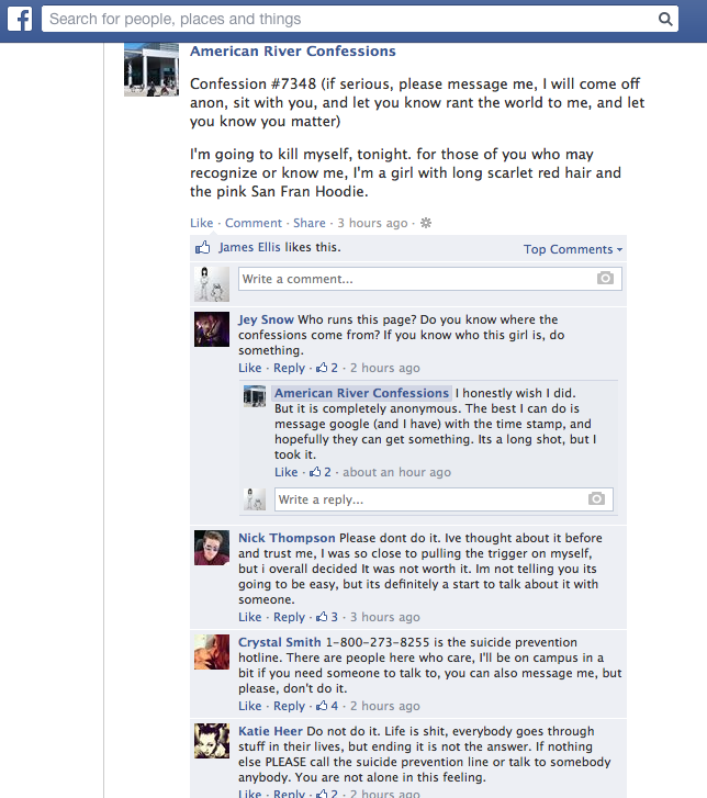 Post+on+American+River+Confessions+Facebook+page+threatens+suicide