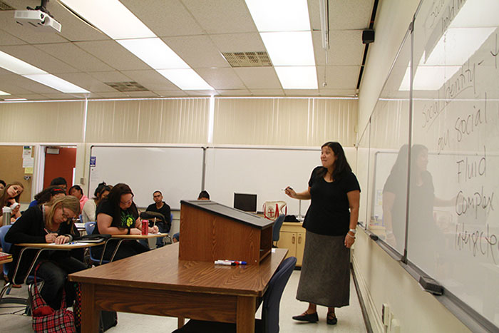 Professor Pamela Chao lectures her class on how we define ourselves and how society define us in her Soc 320 class.