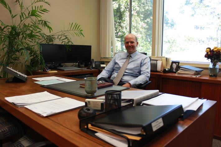 New American River College president Thomas Greene sits in his office the week before the fall 2014 semester starts. (Photo by Emily K. Rabasto)