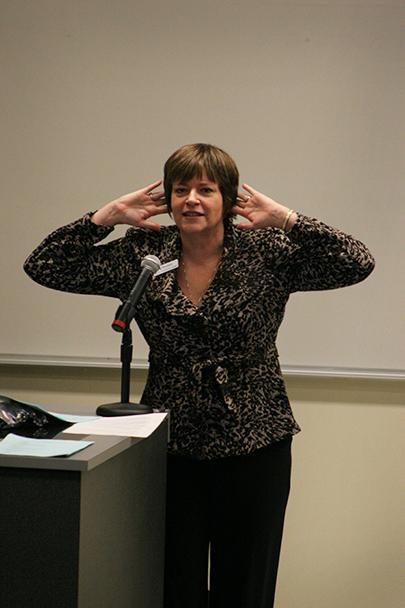 Guest speaker Betty Vosters-Kemp describing how the ear works.