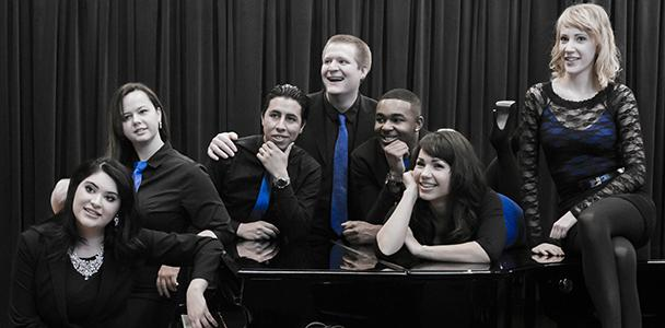 (From left to right) ARC students  Diana Campos, Chelsea Farnworth, Erick Guerrero, Stephen Greenwood, Julian Cunningham, Megan Ugarte and Lahre Shiflet. ARCs vocal jazz ensemble pose at a photo shoot preparing for their performance at the American Choral Directors Association Feb. 25th-28th conference.