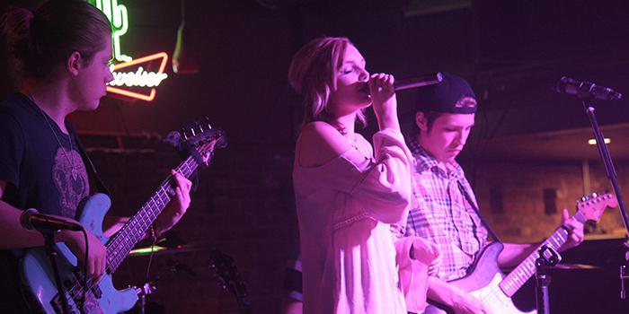 From left Tristan McNay  bass guitar,  Madison Hudson vocalist, Jesse Szabo gu playing Stony Friday night Febuary 13.