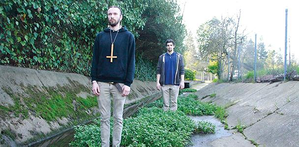 Band members of Tubdragger pose for pictures in a sewer behind Carmichael park, from close to far proximity, Quin Darcy and Garrett Wootton.