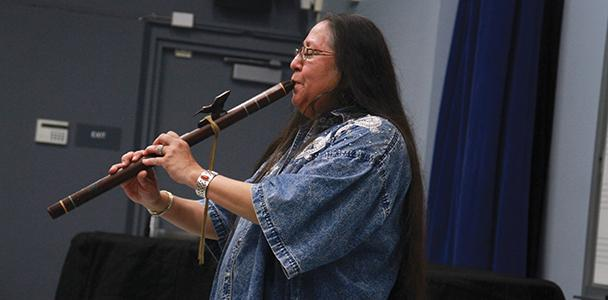 Grammy winner Mary Youngblood was a keynote speaker in professor Merlyn Van Regenmorter's World Music class this Monday. Youngblood is showing us her flutes and even played a couple of her songs.