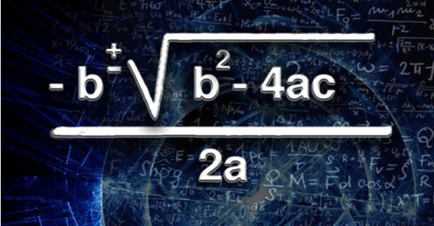 The quadratic formula, pictured, is essential in solving quadratic equations.  It is a prominent focus of study for students enrolled in Math 120.