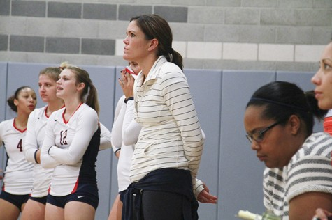 ARC volleyball head coach Ashlie Hain, center, watches her team during a 2013 game. She has accepted a position to become head coach at UC Irvine.