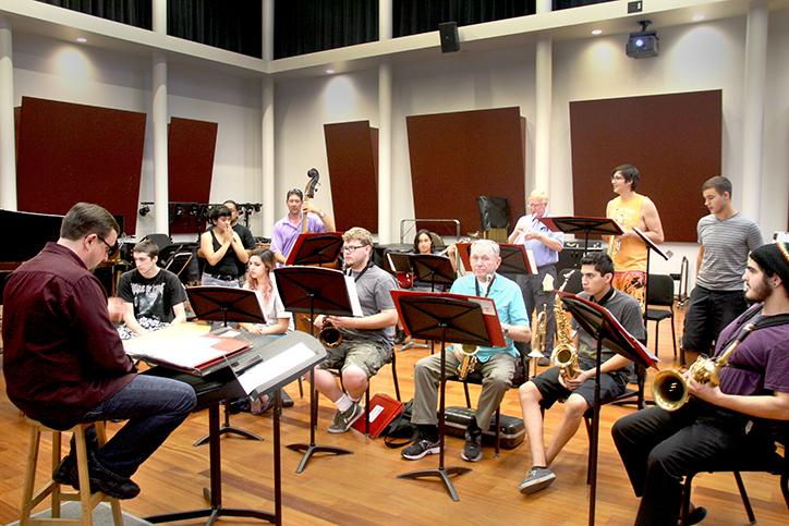Professor Dyne Eifertsen, left, teaches MUP 323, Latin Jazz Ensamble. Students in his class learn a variety of different kinds of music such as Latin American and Afro-Cuban jazz. (Photo by Matthew Wilke)