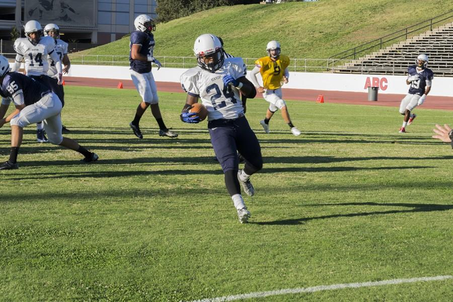 American River College defensive back Dmitri Scott runs into the end zone during practice on Aug. 28, 2015. ARC(0-1) will play host to De Anza College(0-1) on Saturday, Sept.12, 2015. (Photo by Joe Padilla)