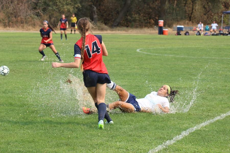 Over-testing of one of the two wells on the American River College campus left the field for the ARC women soccer teams game against Yuba college on  Sept. 11 soaked with water. Testing is required as a part of  building the new well. (Photo by Matthew Wilke)