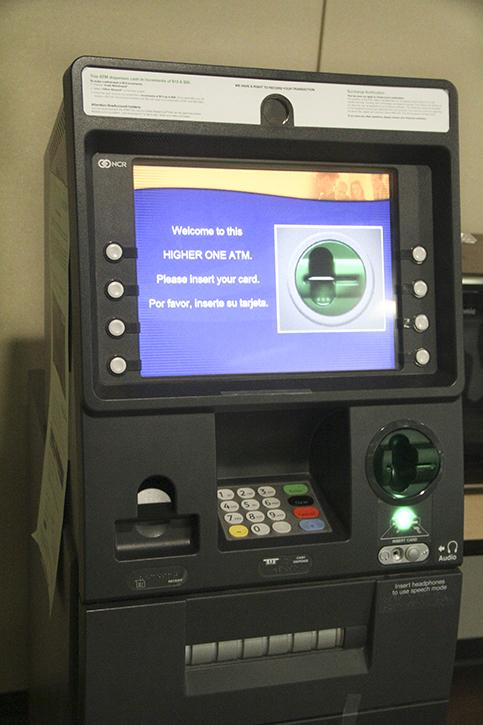 One of the Higher One ATM's on campus that students use to access their financial aid money with their Higher One LRCCD cards.  Students that are able to still receive financial aid have few machines available where they can access their money with no charge. (Photo by Ashlynn Johnson)