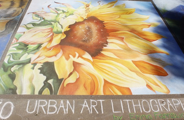 A chalk portrait of a sunflower at Chalk It Up's 25th annual art festival on Labor Day weekend in Fremont park, downtown Sacramento. Some artists left a byline at the bottom of their work like Emma Farnsworth did in the bottom right hand corner on this piece. (Photo by Cheyenne Drury)