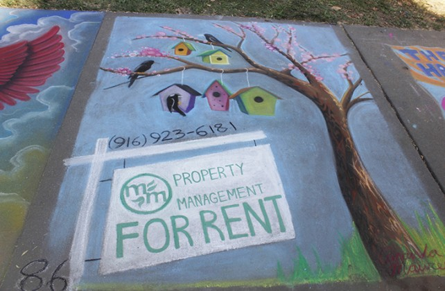 "An advertisement for the real estate company Property Management at Chalk It Up's 25th annual art festival on Labor Day weekend in Fremont park, downtown Sacramento. The number 86 in the left hand corner was for spectators to see if they so desired to vote for it for ""The Peoples Choice"" award. (Photo by Cheyenne Drury)"