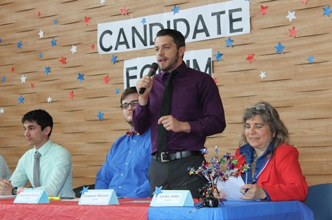 Cameron Weaver speaks at the candidate forums during the student elections of the spring 2015 semester. Weaver, who was elected as Los Rios student trustee, recently cast doubt on the historical account of the Holocaust and said that being a conspiracy theorist is