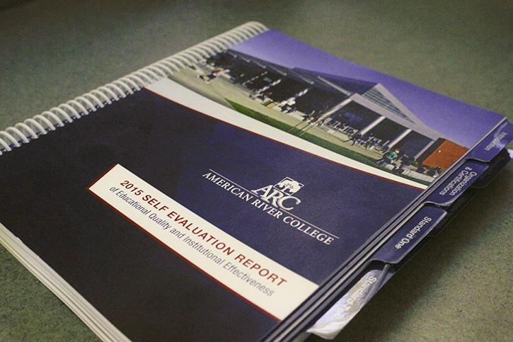 The American River College 2015 Self-Evaluation Report, pictured here, was submitted by the college to the Western Association of Schools and Colleges in July. A group from WASC will be visiting the campus from Oct. 5-8 to determine whether or not ARC meets the requirements for accreditation.  (Photo by John Ferrannini)