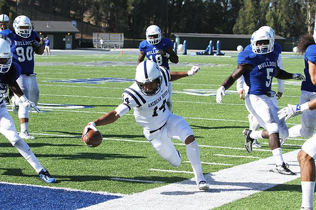 American River College wide receiver Daliceo Calloway steps out of bounds while attempting a run into the endzone during ARC football's 42-10 loss to College of San Mateo on Saturday, Oct. 3, 2015. (photo by Barbara Harvey)