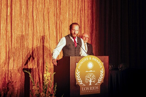 Former Oakland Athletics player and American River College alumnus Dallas Braden speaks to attendees of the Los Rios Foundation Honors and Awards Gala at the Sheraton Grand Hotel in Sacramento on Friday. Braden was one of four alumni honored by the foundation at the gala. (Photo by John Ferrannini)