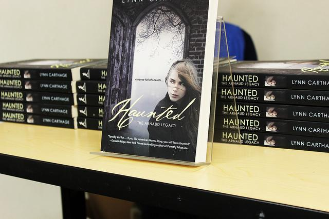 Haunted: The Arnaud Legacy by ARC adjunct Erika Mailman who goes by her pen name Lynn Carthage in this novel, talks with students about her writing process and reads selections from this book in College Hour Thursday. (Photo by Ashley Nanfria)
