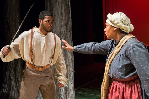 Right, Oh Beah (played by Carla Fleming) attempts to calm down Nate (played by Joshuah Johnson) in the Sacramento State theater department production of