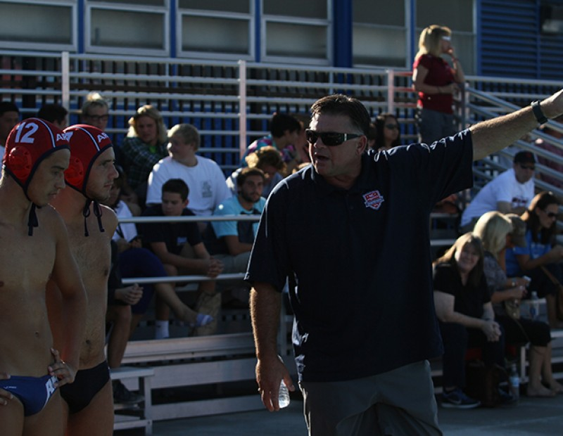 American River College coach Eric Black points to the scoreboard speaks to his player during a timeout on October 21, 2015.(Photo by Nicholas Corey)