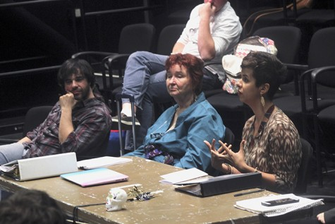 Delondra Williams, right,  answers questions from the cast of