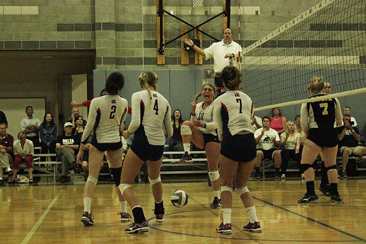 American River College outside hitter Kaitlin Meyer (10) celebrates during ARC's 3-2 win over San Joaquin Delta College. Meyer finished the game with 22 points and ARC extended to eight games. (Photo by Karen Reay)