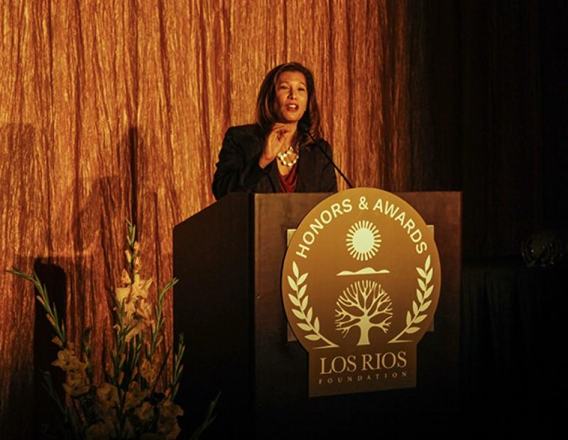 Tani G. Cantil-Sakauye, the chief justice of California and a Sacramento City College alumna, speaks to attendees of the Los Rios Foundation Honors and Awards Gala. Cantil-Sakauye said she was inspired to enter the legal profession after her time on SCC's speech and debate team. (Photo by John Ferrannini)