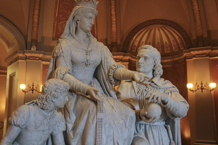 The marble sculpture 'Columbus' Last Appeal to Queen Isabella' sits under the rotunda of the California State Capitol. The sculpture was crafted by sculptor Larkin Goldsmith Mead at his studio near Florence, Italy and was donated to the capitol in 1883. (Photo by John Ferrannini)