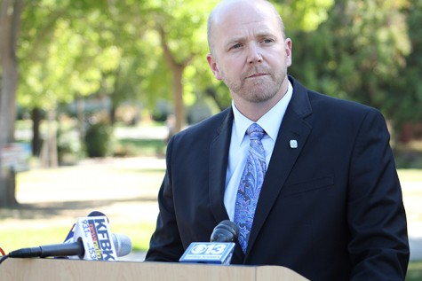 American River College President Thomas Greene spoke to the press Friday regarding the arrest of Kristofer Clark, a former ARC student, on charges of making a threat to the ARC campus. Police have not confirmed what exactly the threat was. (Photo by Barbara Harvey)