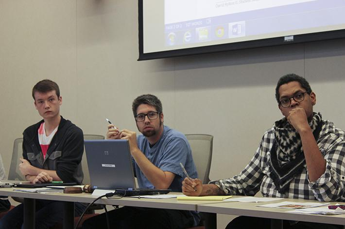 David Hylton, center, will be removed from the position of acting student senate president if three-fourths of voters decide to recall him in an election on eServices that ends Wednesday at 11:30 a.m. (Photo by Jordan Schauberger)