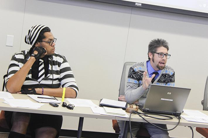 Student Senate President David Hylton, right, narrowly avoided being recalled in an election on eServices this week (Photo by Jordan Schauberger).