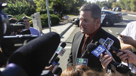 Sacramento County Sheriff Scott Jones spoke to the press Thursday at the scene of a shooting that left one dead less than two miles from American River College. The deceased man shot at three police officers, who returned fire, said Jones. (Photo by Kevin Sheridan)
