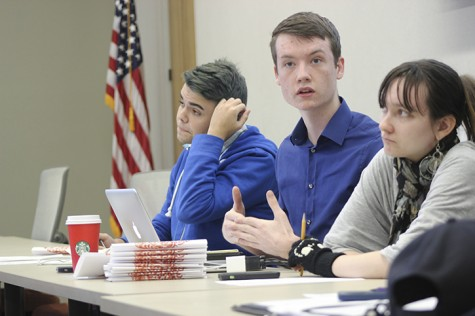 Clubs and Events Board President Justin Nicholson, center, discusses a resolution to create a survey to poll the ARC population on campus accessibility at the board's meeting on Tuesday.  (Photo by Jordan Schauberger)