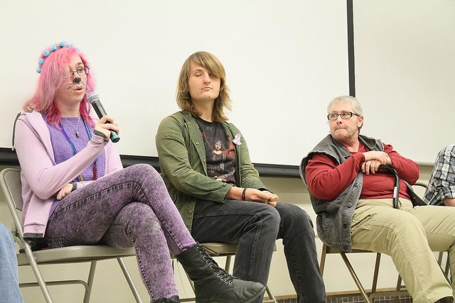 Kylie Marx (left), Zahra Kruk, and Shon Sutton, are speaking about their personal experiences in a Trans* Talk College Hour panel on Nov. 19. (Photo by Michael Pacheco)
