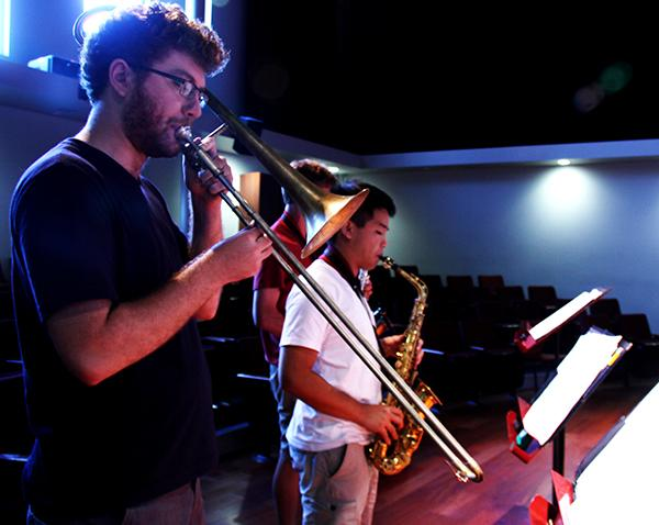 Ian Ellis, left, and  Thomas Wong, right, rehearses for their upcoming concert,  American River College Jazz Combos Showcase. The concert is on Friday at 7:30 p.m.  (photo by Michael Pacheco)