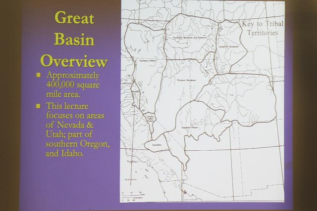 A slide on the Great Baisn Overview at the college hour that covered the troubles that the Native American tribes went though in the 1800s on Nov. 5. (Photo By Emily Thompson)
