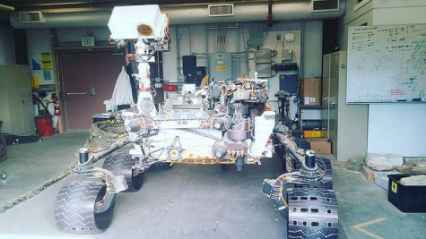 The Curiosity rover sitting in a shed NASA's Jet Propulsion Laboratory in Pasadena, CA. A student from American River College was apart of a team that won a program for NASA to build a rover that would be successful on a mission to Mars. (Photo provided by Cecilie Thompson)