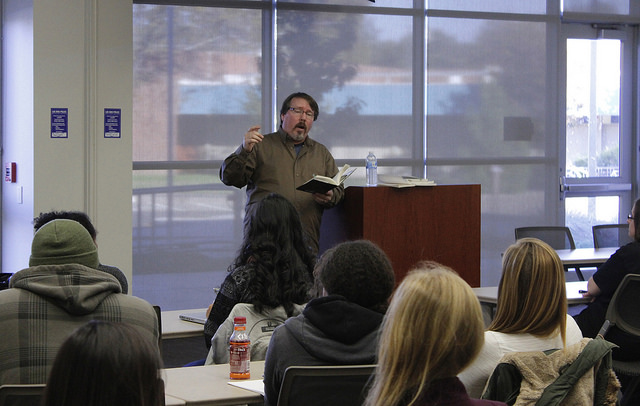 Poet and author Brian Turner reads his poetry to ARC students during his poetry reading in the Student Center Community Rooms on Nov. 12th. Turner is an award winning poet and is also a U.S. Army veteran. (Photo by Matthew Nobert)