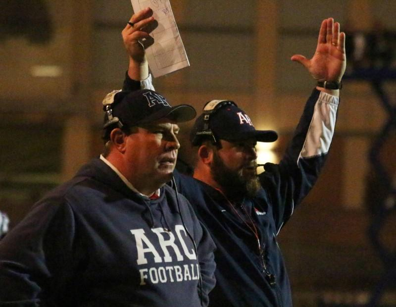 American River College football head coach Jon Osterhout awaits a call on an ARC touchdown during ARC's 38-18 win over Sacramento City College on Saturday, Nov. 14, 2015. (Photo by Barbara Harvey)
