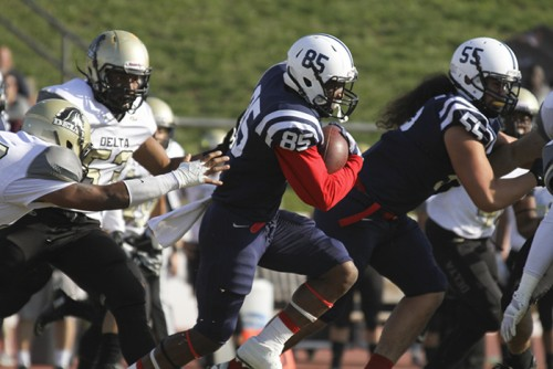 ARC wide receiver Torian Williams evades tackles during the Gridiron Classic Bowl on Saturday. ARC lost 24-17 in overtime. (Photo by Jordan Schauberger)