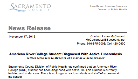 A news release from the Sacramento County Division of Public Health reports that an American River College student has been isolated after being diagnosed with tuberculosis. The department said that 'the risk of contraction for students and staff is low.' (Screenshot from the Sacramento County Health and Human Services)