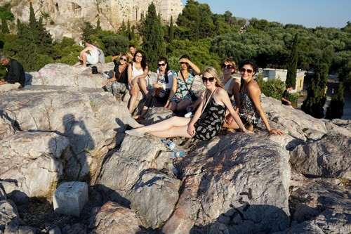 Students from the American River College Study Abroad course HIST 399: Italian History and Culture, pose on a rock in Greece during their stay in summer 2015. Studying abroad can open up many opportunities for students to experience different cultures. (Photo Courtesy of Ashley Nanfria)