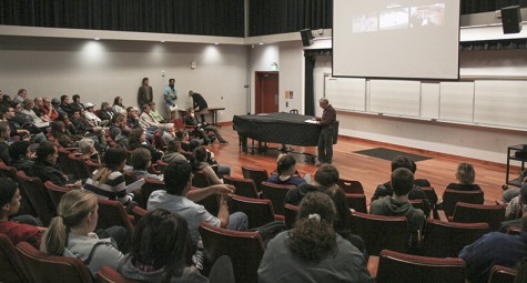 Dozens of students listen to Holocaust survivor Leon Malmed speak at a college hour in Music Room 547. Malmed was invited to speak by ARC President Thomas Greene. (Photo by John Ferrannini)