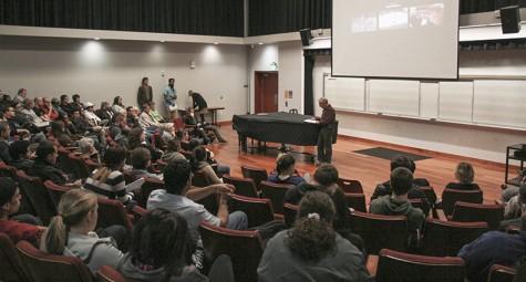 Dozens of students listen to Holocaust survivor Leon Malmed speak at a college hour in Music Room 547. Malmed was invited to speak by ARC President Thomas Greene. (Photo by John Ferrannini)