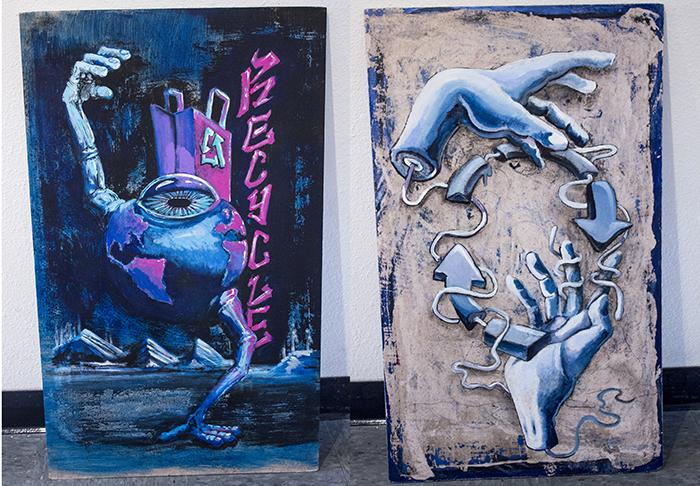 'Eyeball Dance' by Neil Putnam, left, and 'Blue Hands' by Daniel Meidinger and Andria Arnott are two pieces of artwork by American River College students to be placed on recycle bins on campus. (Photos by Karen Reay)