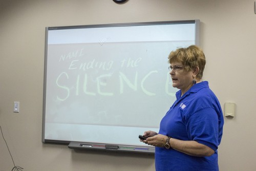 Representive of the National Alliance of Mental Illness, Nicole Williams, hosted this presentation about the different warning signs of a peaking illness amongst our friends and family on Friday. (Photo by Karen Reay)