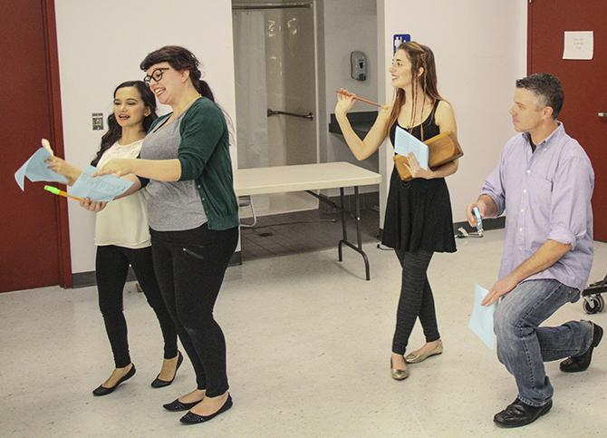 ARC Students (from right to left) Rhian Harris, Samantha Ara, Ariel Ryan and Josh Hooper practice their improv skills Sunday for auditions for American River College's production of Shakespeare's
