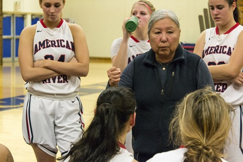 Head coach J.R. Matsunami gives the American River College's womens basketball team a pep talk in the second half of their game against Sierra College Friday. ARC lost to Sierra 71-56.  (Photo by Joe Padilla)