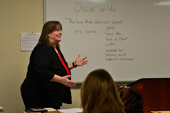 Professor Susan Howe teaches her Gay, Lesbian, Bisexual andTransgender Literature class at American River College. This semester is the first time the course has been offered at ARC. (Photo by Joe Padilla)