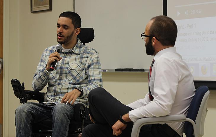 Retired MMA fighter Devin Johnson talks about his life after a paralyzing injury caused him to be unable to fight. Johnson spoke to ARC students and faculty during a college hour Thursday. (Photo by Matthew Nobert)